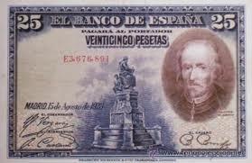 Billete de 25 pesetas con imagen de Pedro Calderón de la Barca