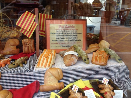 St Jordi's bread (cheese and sobrasada) in a bakery in Barcelona