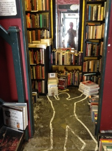 Inside of 'Murder and Mayhem' a genre bookshops with plenty of atmosphere