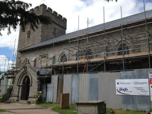St Mary's Church in Hay-on-Wye, still undergoing renovations